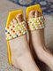 Women Casual Colorful Rivet Square Toe Stripe Flat Slippers - Yellow