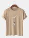 Mens Cartoon Astronaut Print Cotton Daily Loose O-Neck T-Shirts - Khaki