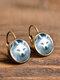 Vintage Glass Gem Dangle Women Earrings Animal Insect Cats Birds Pattern Earrings - #12
