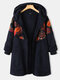 Floral Printed Patchwork Vintage Hooded Plus Size Coat - Navy