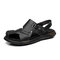 Men Soft Sole Two Ways Non Slip Closed Toe Casual Leather Sandals - Black