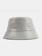 Women & Men Faux Leather Plain Color Outdoor All-match Sunshade Bucket Hat - Gray