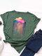 Rainbow Rain Printed Short Sleeve O-neck T-shirt For Women - Army