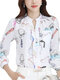 Cartoon Printed Stand Collar Office Lady Elegant Shirt - White