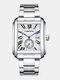 3 Colors Stainless Steel Men Vintage Watch Decorated Pointer Calendar Quartz Watch - White