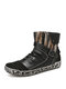 SOCOFY Retro Comfy Round Toe Warm Lining Wearable Side Zipper Casual Flat Short Boots - Black