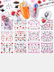 12 Pcs Nail Art Stickers Love Letter Flower Sliders Nail Art Decoration Valentine's Day Transfer Stickers - #03