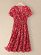 Women Floral Print V-neck Elastic Waist Short Sleeve Dress - Red