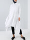 Women Ethnic Solid Color Button Long Sleeve Casual Blouse - White