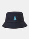 Unisex Cotton Solid Color Cartoon Little Dinosaur Embroidery All-match Sun Protection Bucket Hat - Navy