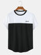 Mens Patchwork Print Simple Casual Light Summer O-Neck T-Shirts - White