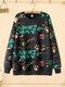 Cartoon Letter Graffiti Print Crew Neck  Plus Size Pullover Sweatshirt - Black