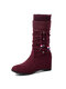 Women Drawstring Slip On Large Size Elegant Casual Suede Mid Calf Boots - Wine Red