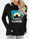 Casual Print Long Sleeve O-neck Plus Size T-shirt For Women - Black