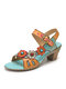 SOCOFY Flowers Decor Splicing Colorblock Cut-out Genuine Leather Hook Loop Chunky Heels Sandals - Blue
