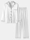 Plus Size Women Faux Silk Lapel Chest Pocket Long Pajamas Sets With Contrast Binding - White