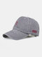 Men Washed Cotton Letter Pattern Baseball Cap Outdoor Sunshade Adjustable Hat - Gray