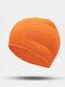 ユニセックスポリエステルコットンニットソリッドレタークロスラベルオールマッチ暖かさビーニーハット - オレンジ