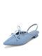 Women Bowknot Decor Comfy Microfiber Low Block Heeled Slingback Sandals - Blue