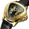 Leisure Business Men Watch Triangle Dial Leather Band Waterproof Mechanical Watch - Gold+Black