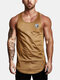 Mens Simple Solid Color Casual Breathable Sleeveless Tank Top - Yellow