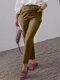 Solid Color Elastic Waist Lace-up Casual Pants With Pocket - Khaki
