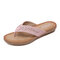Rhinestone Clip Toe Holiday Hollow Out Flip Flops Beach Slippers - Pink