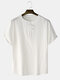 Mens Cotton Linen Chinese Frog Button Solid Loose Half Sleeve T-Shirts - White