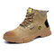 Men Suede Steel Toe Slip Resistant Anti-puncture Work Safety Boots - Brown