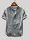 Mens Cotton Linen Vintage Solid Stand Collar Casual Henley Shirt - Grey