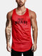 Mens Mesh Breathable Quick-Drying Sport Tank Tops - Red