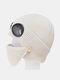 Men & Women Plus Velvet Thick Warm Neck Face Ear Protection Headgear Knitted Hat Mask Pilot Glasses - Beige