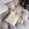 Cute Canvas Bunny Shoulder Bag Crossbody Phone Bag For Women - Beige