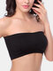 Women Solid Color Seamless Wireless Removable Chest Pad Bandeau Bra - Black