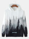 Mens Forest Scenery Print Casual Drawstring Pullover Hoodie - White