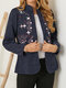 Corduroy Embroidered Stand Collar Long Sleeve Vintage Jackets - Navy