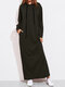 Solid Color Long Sleeves Casual Hooded Maxi Dress - Army Green