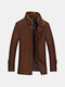Mens Winter Mid Long Woolen Coat Double Collar Thickened Warm Trench Coat - Camel