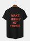 Mens Sport Style Slogan Back Print Curved Hem Cotton Short Sleeve T-Shirts - Black