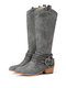 Women Pointed Toe Chunky Heel Hollow Out Quilting Retro Elegant Mid-Calf Cowboy Boots - Gray