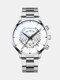 Business Men Watch Steel Band Waterproof Calendar Quartz Watch - White Dial Silver Band