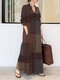 Abito lungo vintage lungo tascabile a maniche lunghe con colletto alla coreana scozzese - Giallo