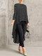 Print Polka Dot High Low Long Sleeve Plus Size Blouse - Black