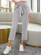 Side Striped Print Waistband Pocket Long Casual Sport Pants for Women - Gray