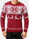 Mens Christmas Reindeer Knitted Round Neck Casual Relaxed Fit Sweater - Red