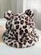 Women Faux Rabbit Fur Warm Soft Cute Casual All-match Animal Ear Pattern Bucket Hat - #02