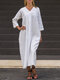 Solid Color V-neck Long Sleeves Casual Dress For Women - White