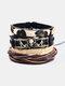 4 Pcs Ethnic Leopard Women Bracelet Set Vintage Music Skull Handmade Combination Leather Bracelet - Black