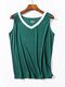 Solid Color Sleeveless Tank Top With Shorts Suit For Women - #04