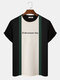 Mens Block Stripe Patchwork Letter Embroidery Knitted Short Sleeve Preppy T-Shirts - Green